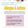 March 27: Allergies & Asthma Education w/ FREE lunch!
