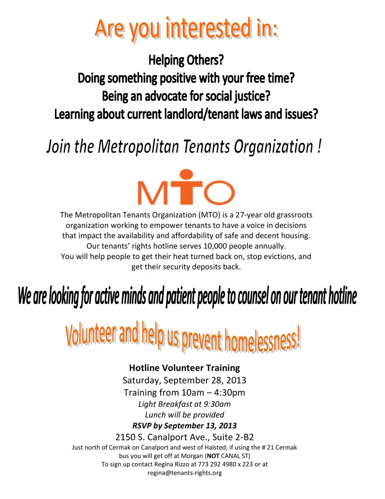 Metropolitan Tenants Organization Tenants Helping Tenants Improve