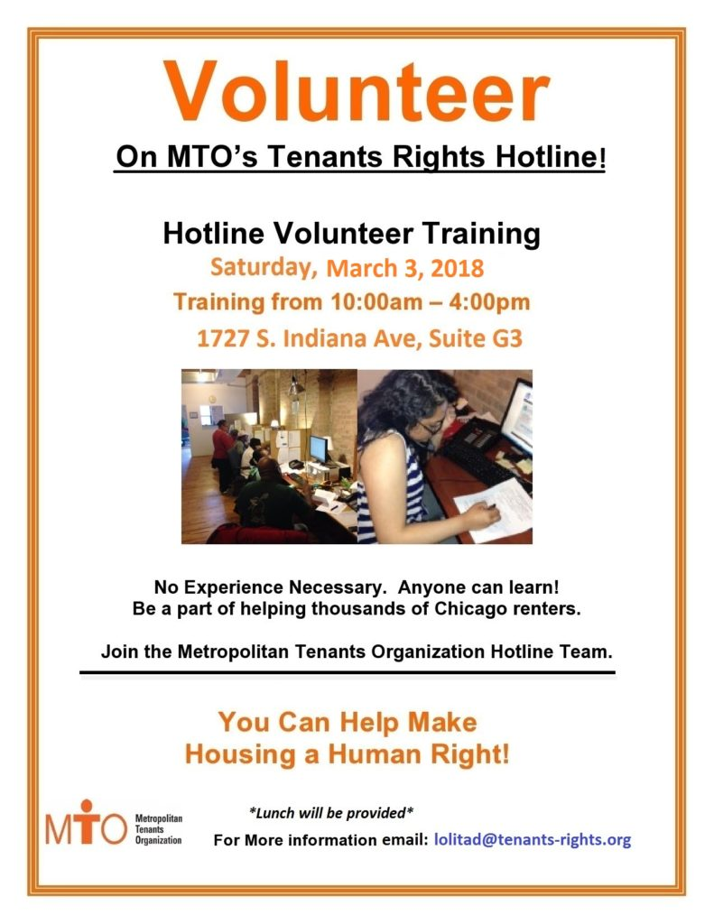 Hotline Volunteer Training – 3/3/18