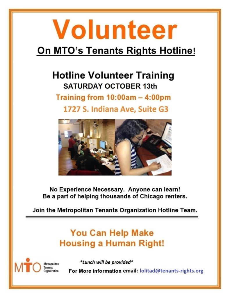 MTO Volunteer Training – 10/13/18