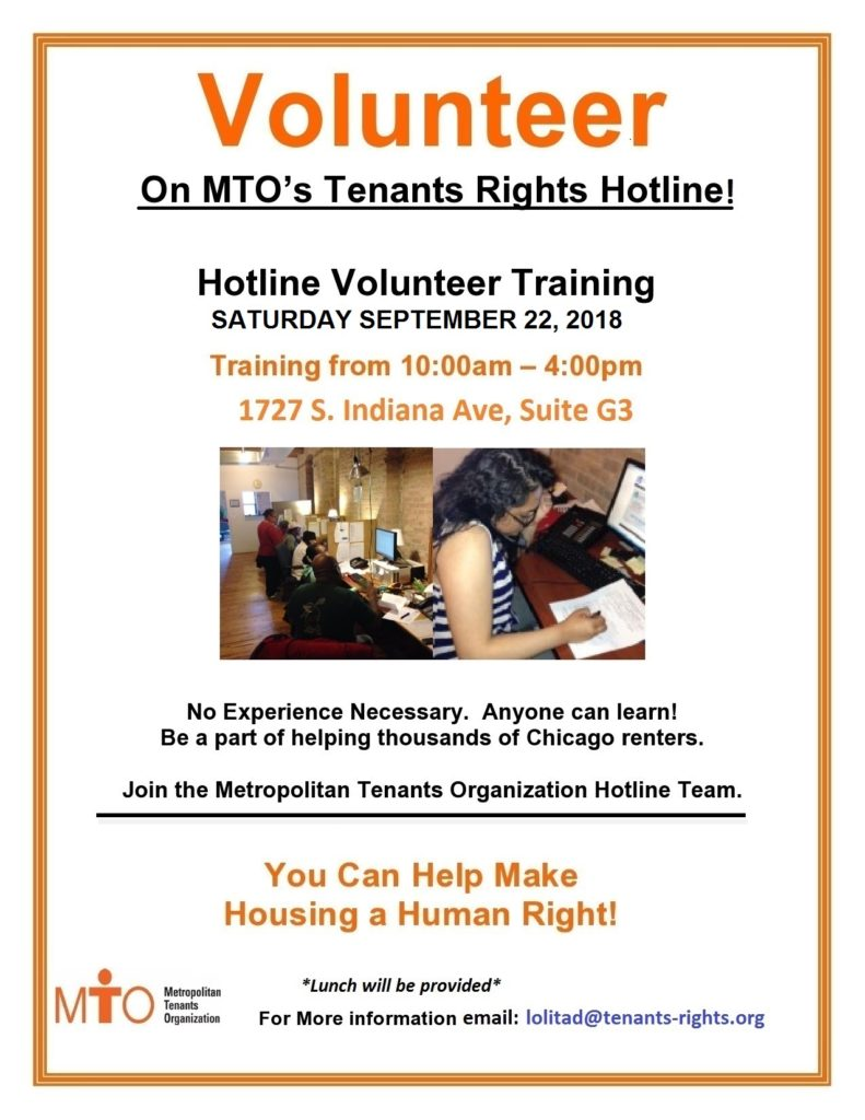 MTO Volunteer Training – 9/22/18