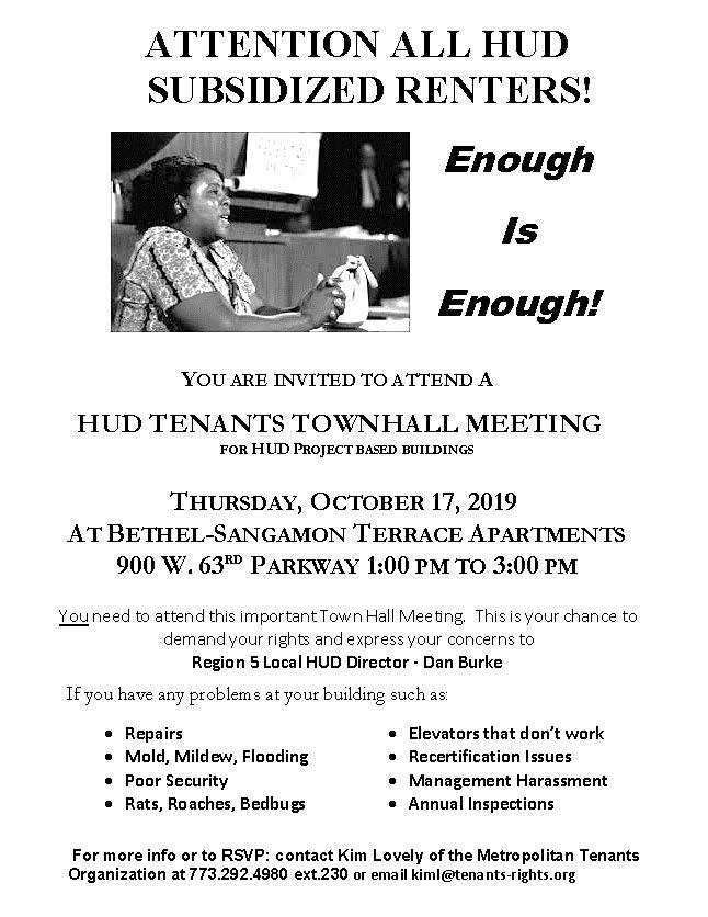 HUD Tenants Townhall Meeting – 10/17/19